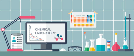 Chemisch laboratorium. Werkplek. Platte design. vector illustratie