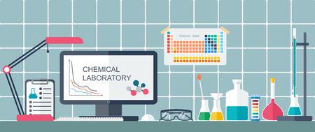 bureta: Laboratorio químico. Lugar de trabajo. Diseño plano. ilustración vectorial Vectores