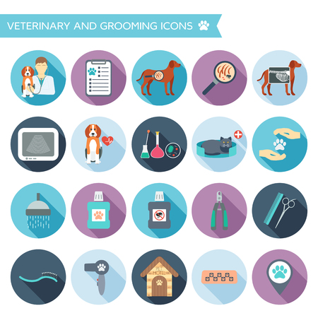 Set of veterinary and grooming icons with names. Colorful flat design with shadows. Vector illustration Illusztráció