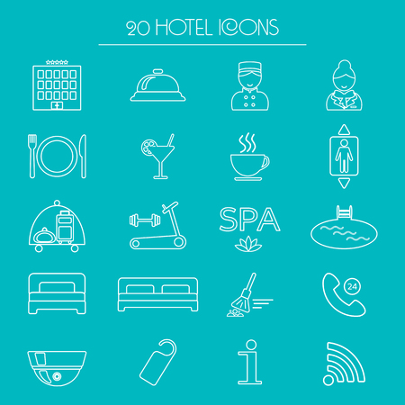 glyph: Icons of hotel service. Thin line icon. Hotel glyph. Vector illustration