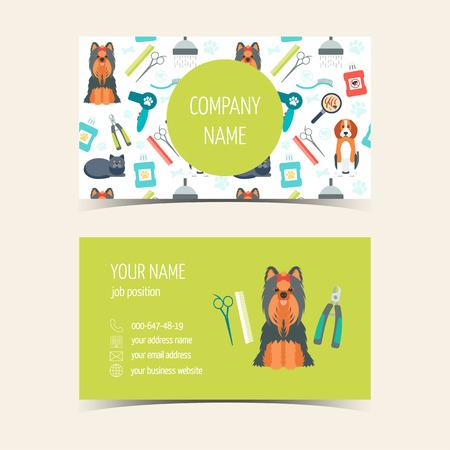 Adreskaartjes voor dierlijke verzorgen. Promotionele producten. Plat ontwerp. vector illustratie