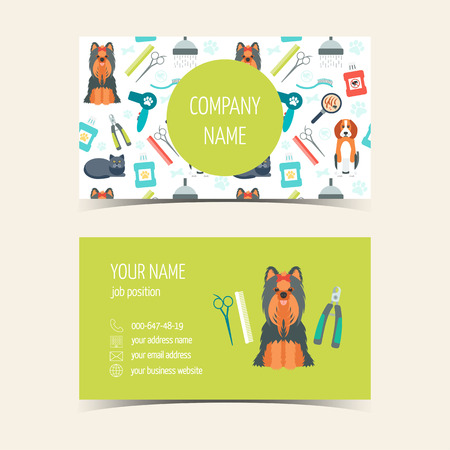 groomer: Business cards for animal grooming. Promotional products. Flat design. Vector illustration