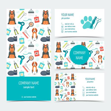 동물 손질을위한 전단지, 브로셔, 비즈니스 카드의 집합입니다. 치료를 애완 동물. 프로모션 제품의 집합입니다. 플랫 디자인. 벡터 일러스트 레이 션