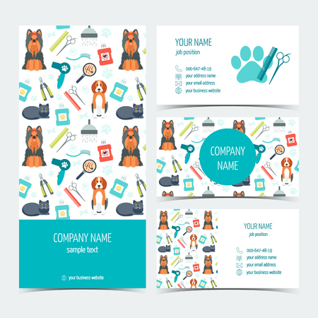 grooming product: Set of flyer, brochure and business cards for animal grooming. Pet care. Set of promotional products. Flat design. Vector illustration
