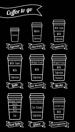 glace: Coffee to go. Coffe types and recipe. White line icons. Vector illustration Illustration