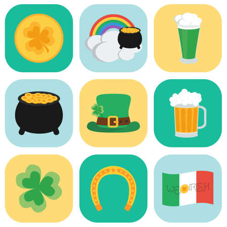 17 of march: Set of icons on St. Patricks Day. Flat style. vector illustration