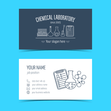 promotional products: Business cards for chemical laboratory and scientific companies. Promotional products. Vector illustration