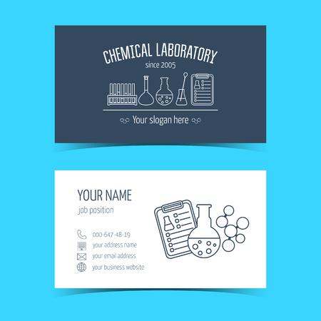 productos quimicos: Tarjetas de visita para laboratorio qu�mico y empresas cient�ficas. Productos promocionales. Ilustraci�n vectorial