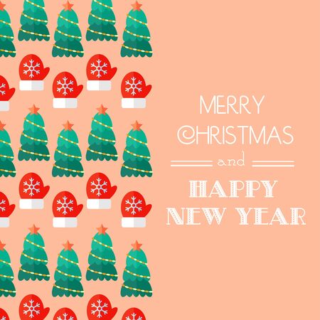 congratulatory: New Year and Christmas Card. Calligraphic typography. Congratulatory, invitation card. Flat design. Inscription in retro style