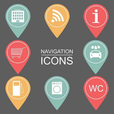reference point: Set of navigation icons. Outlined icons. public institutions. vector illustration