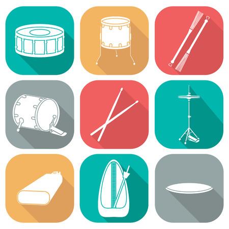 bateria musical: Tambor iconos 2. silueta. Dise�o plano. ilustraci�n vectorial