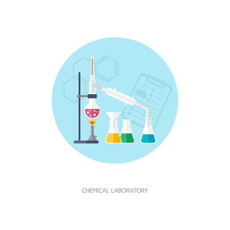 synthesis: Chemical concept. Organic chemistry. Synthesis of substances. Flat design. vector illustration