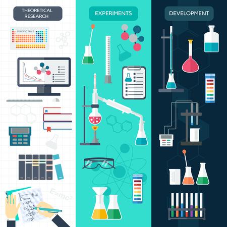 bureta: Conjunto de banderas verticales químicos. proceso de la ciencia. Diseño plano. ilustración vectorial Vectores