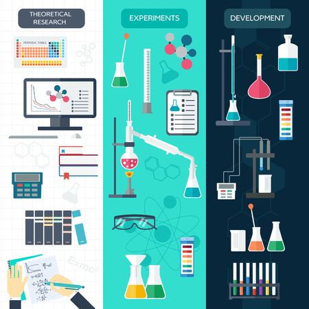 Set of chemical vertical banners. Science process. Flat design. Vector illustration Illustration