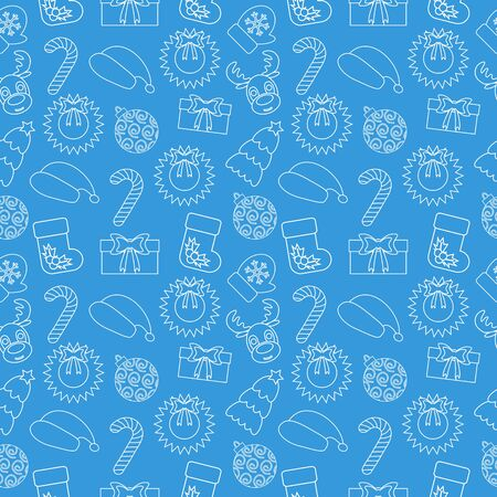 Christmas Seamless doodle background. Blue wrapping-paper. Vector illustration