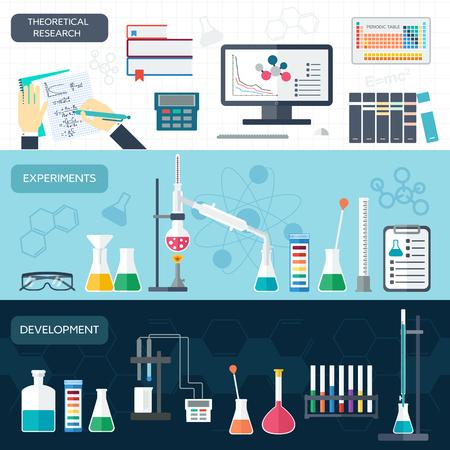 bureta: Química conjunto de banners horizontales. Investigación científica. Diseño plano. ilustración vectorial