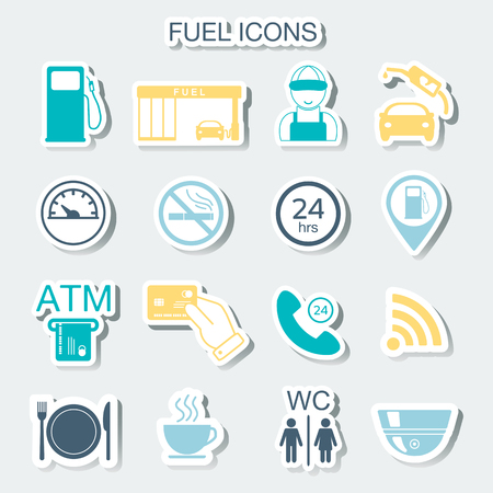 gas gauge: 16 gas station icons. Fuel icons. Stickers. Vector illustration