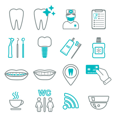 16 line of dental icons. Isolated. Color block. vector illustration Vettoriali