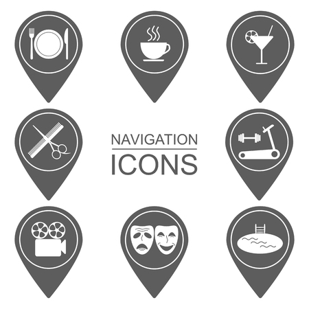 institutions: Navigation icons. Outlined icons. Public institutions. vector illustration Illustration