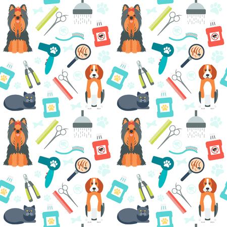 Seamless pattern. Governare per gli animali. Cura degli animali. Design piatto. Illustrazione vettoriale Archivio Fotografico - 46363534