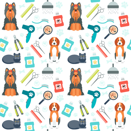 grooming: Seamless pattern. Grooming for animals. Pet care. Flat design. Vector illustration