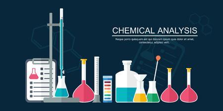 bureta: Concepto de la investigación. Bandera Química. Diseño plano. ilustración vectorial Vectores