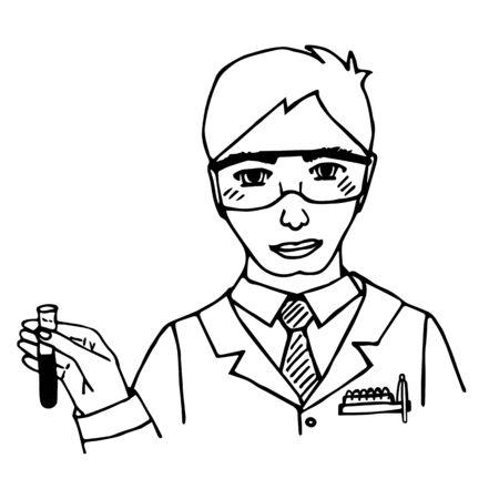 chemist: Hand-drawn scientist. Chemist. Doodle. Isolated. vector illustration