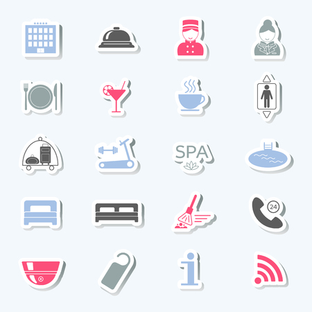 porter: Hotel services icons. Stickers. Vector illustration Illustration