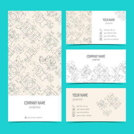 mechanical engineering: Engineering business cards, flyers, leaflets with the drawings. Blue color. Vector illustration Illustration