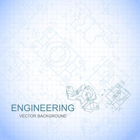 lijntekening: Affiche, dekking, banner, achtergrond van de technische tekeningen van de onderdelen. Notitieboekjeblad. Vector illustratie Stock Illustratie