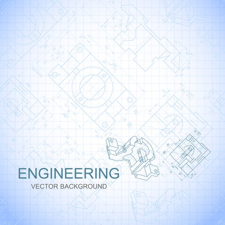 Poster, cover, banner, background of engineering drawings of parts. Notebook sheet. Vector illustration Illustration