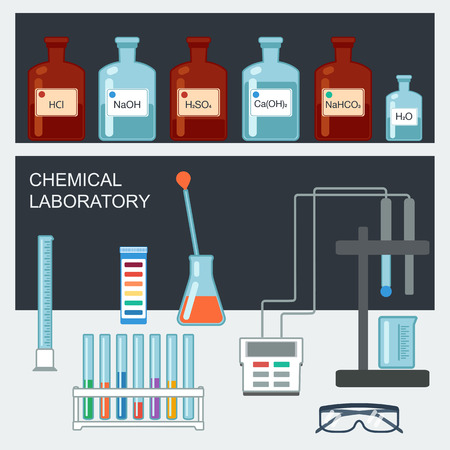 Chemical Laboratory. Flat design. Chemical glassware, measuring utensils, ion electrode, test pH paper. Vector illustration