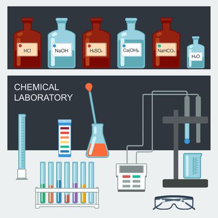 Laboratorio Chimico. Design piatto. Cristalleria chimica, utensili di misura, elettrodi di ioni, carta test del pH. Illustrazione vettoriale Archivio Fotografico - 46363931