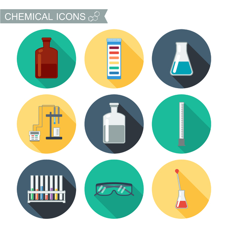 Chemical icons. Flat design with shadows. Chemical Laboratory. vector illustration Vettoriali