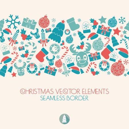 stocking cap: Christmas seamless border. Christmas icons. Retro colors.vector illustration