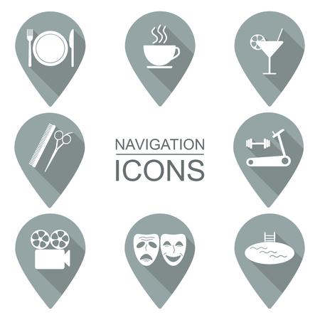 institutions: Set of navigation icons. Flat design. Public institutions. vector illustration