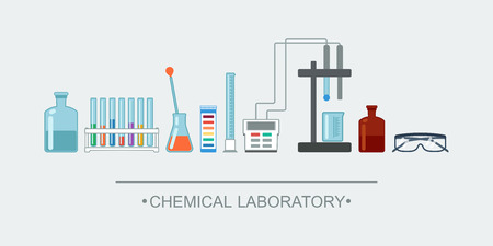chemical laboratory: Banner chemical objects. Chemical laboratory glassware. vector illustration