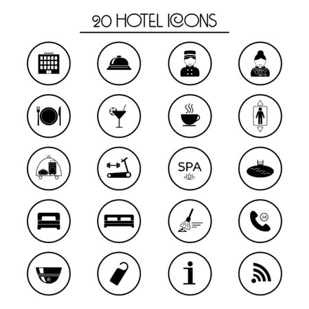 porter: 20 hotel services icons. Isolated. Vector illustration