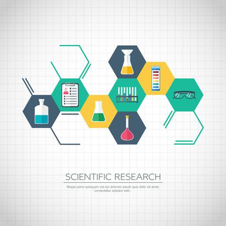 bureta: Concepto de la investigación. Bandera Química, fondo, cubierta. Iconos químicas. Diseño plano. ilustración vectorial