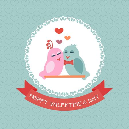 be mine: Card for Valentines Day. Birds. Ribbon. Label. Vector illustration