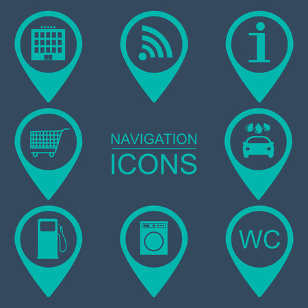 reference point: Navigation icons. Silhouette icons. Flat design. vector illustration