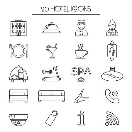 Set di icone di servizio alberghiero lineare. Isolato. illustrazione vettoriale Archivio Fotografico - 46364562