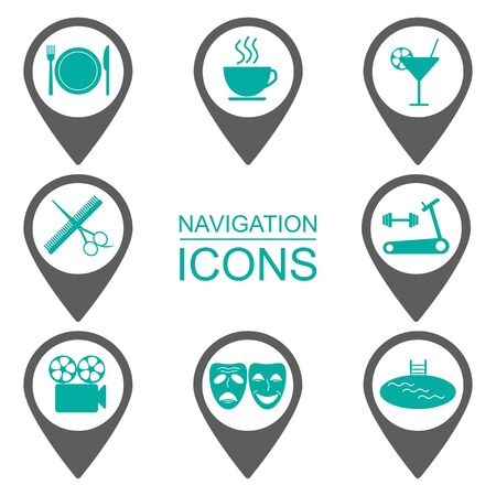 pubblico: Navigation icons. Silhouette icons. Public institutions. Flat design. vector illustration Vettoriali
