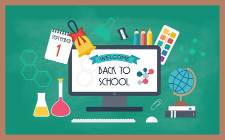 school agenda: Bandera, de fondo, el cartel de los iconos de la escuela y de la educación. De vuelta a la escuela. Diseño plano. ilustración vectorial