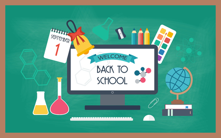 Banner, background, poster from the school and education icons. Back to school. Flat design. vector illustration