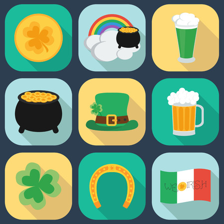 17 of march: A set of flat icons on St. Patricks Day. Shadow. vector illustration Illustration