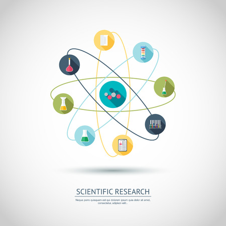 scientific research: Scientific research concept. Chemical banner, background, cover. Chemical icons with shadows. Flat design. Vector illustration