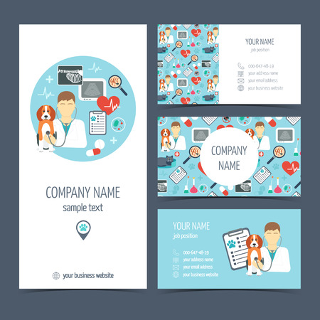Set of promotional products for vet clinic. Flyer, brochure and business cards. Pet care.  Flat design. Vector illustration