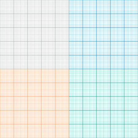A set of graph paper in four colors. Plotting paper. Vector illustration Illustration