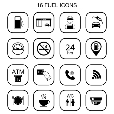 camera symbol: Set of gas station icons. Isolated. Vector illustration Illustration